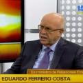 Eduardo Ferrero: Perú espera una respuesta más clara de Chile