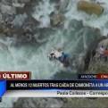 Ayacucho: al menos 13 muertos tras caída de camioneta a abismo de 200 metros