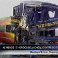 Ica: 13 heridos deja choque frontal entre bus y camión