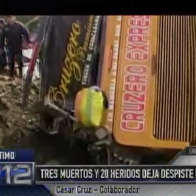 Pasco: despiste de bus deja tres fallecidos y veinte heridos de gravedad