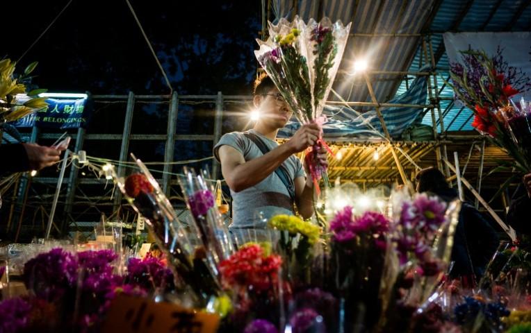 Un florista envuelve las flores en el mercado de la flor del Año Nuevo del parque de Victoria en Hong-Kong el 27 de enero de 2017. (Vía: AFP)