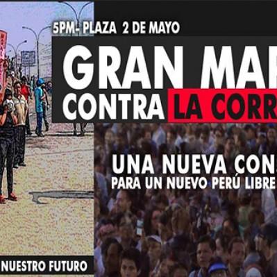 Marcha contra la corrupción se llevará a cabo hoy en la Plaza Dos de Mayo