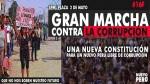 Marcha contra la corrupción se llevará a cabo hoy en la Plaza Dos de Mayo - Noticias de plaza grau