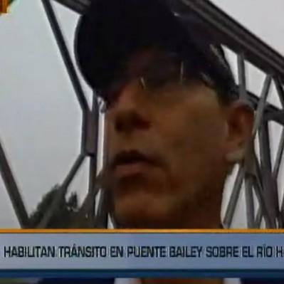 Habilitan tránsito por puente Bailey sobre el río Huaycoloro