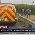 Panamericana Sur: un muerto deja choque entre una camioneta y un tráiler