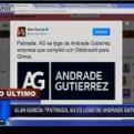 """Alan García sobre caso Odebrecht: """"Patinada. AG es logo de Andrade Gutiérrez"""""""
