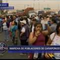 Masiva marcha de vecinos de Carapongo para exigir agua potable y desagüe