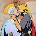 Papa Francisco y Donald Trump se besan  en mural de Roma