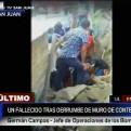 SJL: una persona murió y dos resultaron heridas tras la caída de un muro